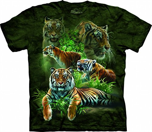 The Mountain Jungle Tigers Adult T-Shirt, Green, Large (5ive Jungle Shirts)