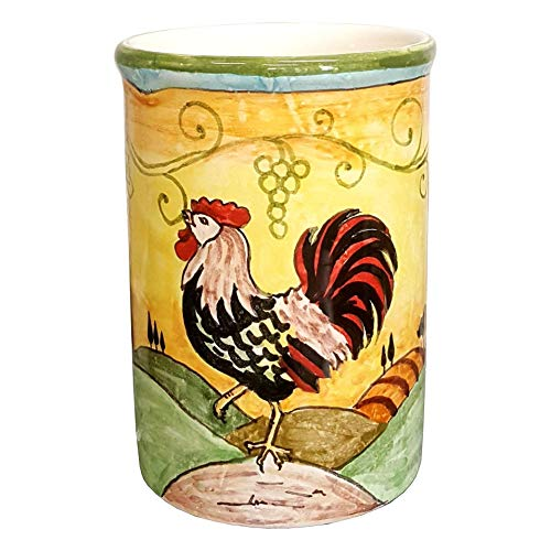 CERAMICHE D'ARTE PARRINI- Italian Ceramic Utensil Holder Vessel Hand Painted Decorated Tuscan Rooster Made in ITALY Art Pottery