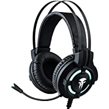 Gaming Headphone Wired with Microphone,Horsky Surround Stereo Over Ear Headset for Computer Gamer Volume Control Noise Cancelling Earphone 3.5mm Jack LED Light Black
