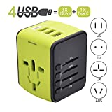 Travel Adapter, Universal Travel Power Adapters with 1 Type C, 3 USB Charging Ports and EU UK AUS US Plug All in One Wall Charger (Green)