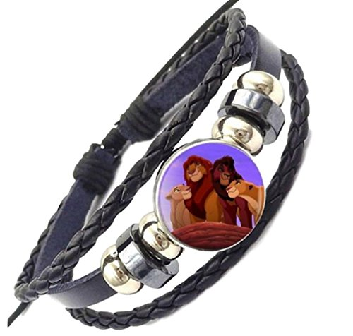 New Horizons Production Disney's The Lion King Logo Glass Domed Braided Leather - Disney Bracelets Glass