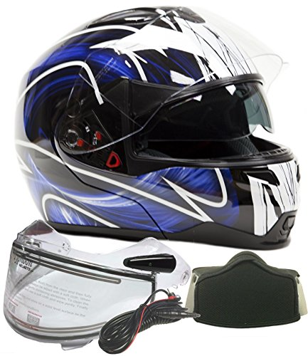 Modular Dual Visor Snowmobile Helmet w/ Electric Heated Shield - Black / Blue ( Large ) Electric Snowmobile Shield