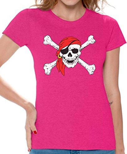 Awkward Styles Women's Jolly Roger Skull & Crossbones T Shirts Tee Tops for Women Pirate Flag T Shirts Tee Tops for Women Pink L ()