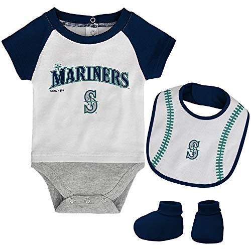 MLB Newborn Baseball Kid Bodysuit, Bib & Booties Set - White (0/3 Months, Seattle Mariners)