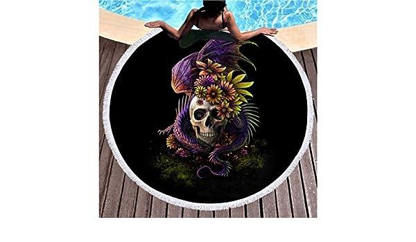 kxrzu Gracioso Patrones de cráneo lagarto Impreso ronda toalla de playa con borlas Super absorbente de agua toalla de estilo casual suave manta de ...