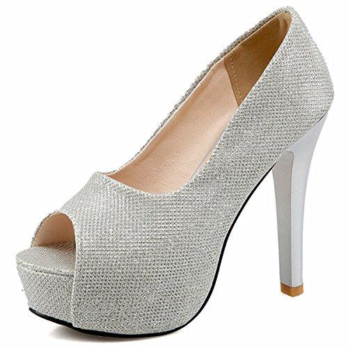 Peep Evening Dress Toe Pumps DecoStain Heels Women's Court High Work Stilettos Party Shoes Platform B5wwAzq