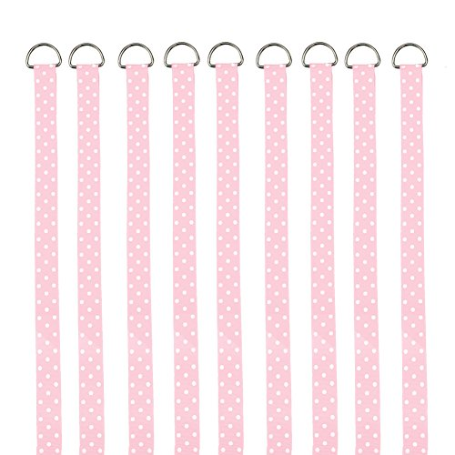 QtGirl Pink Hair Bow Holders 9 Pcs 3-Feet Long Bow Hanger Hair Clip Storage Organizer
