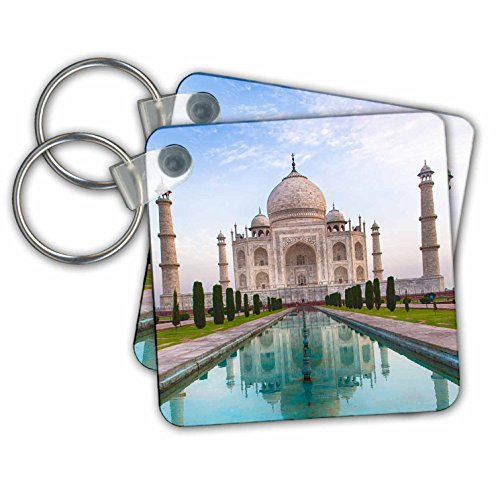 Danita Delimont - Travel - India. Agra, Portrait of the Taj Mahal with blue pond. - Key Chains - set of 2 Key Chains (kc_276791_1) (Best Images Of Taj Mahal)