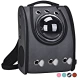 Masvis Cat Backpack Carrier Cat Bubbles Pet Carrier Airline Approved for Petite Dogs (black)