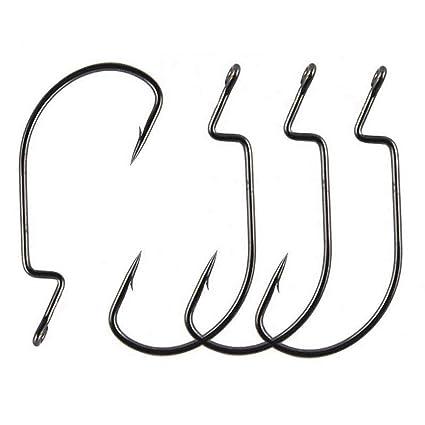 Amazon com : Luengo 50pcs/lot Worm Hooks Jig Circle Fishing Hooks