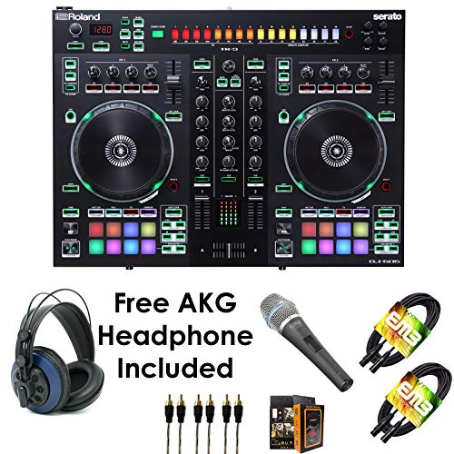 Roland PKG DJ-505 Two Channel, Four-Deck Serato DJ Controller - Package Bundle with EMIC800 Microphone, 3x RCA Cable, 2x XLR Cable, and Free Blue Headphone & Mobile -