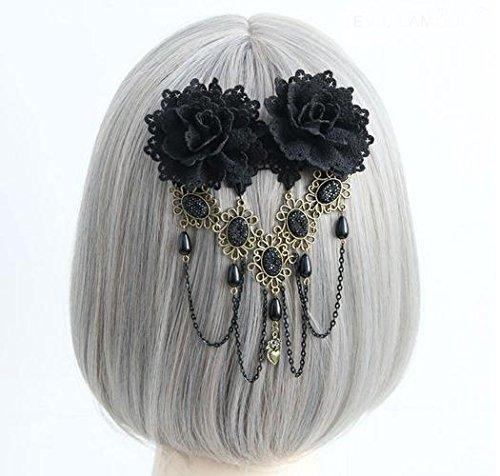 Vintage Black Rose Hair Clip Gothic Flower Bobby Pin Barrettes Hair Accessories Goth Kangsanli