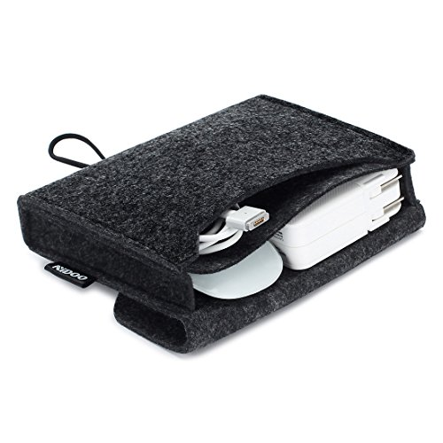 NIDOO Portable Felt Storage Pouch Bag Case for Accessory (Mouse, Cellphone, Cables, SSD, HDD Enclosure, Power Bank and More) - 6.3 inch, Dark Gray