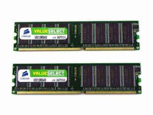 Corsair DDR _ 1GB (MB X 2Piece Set) _ PC3200-Non-ECC _ 184pin _ Unbuffered _ CL2Rated 5X vs1gbkit400