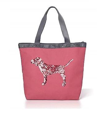 3b66ebd943f46 Amazon.com: Victoria's Secret Bling Sequin Dog Zip Top Tote (Soft Begonia  Pink): Clothing