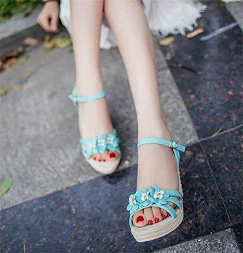 RuiKeil-Sandalen handgemachte Blumen Mode Freizeitschuhe Wild Muffin bequem mit Einfachheit in schweren Boden Sandalen Light Blue