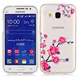 Galaxy Core Prime Case, Candy House Samsung Galaxy Core Prime / Galaxy Prevail LTE Ultra Clear TPU Case Simple Flower Branches Pattern Flexible Soft Protective Skin Back Cover