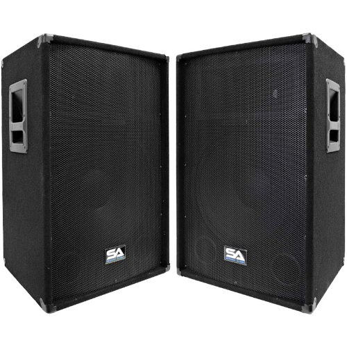 Seismic Audio - SA-15T-PW-Pair - Pair of Powered 2-Way 15'' PA / DJ Speaker Cabinets with Titanium Horns by Seismic Audio