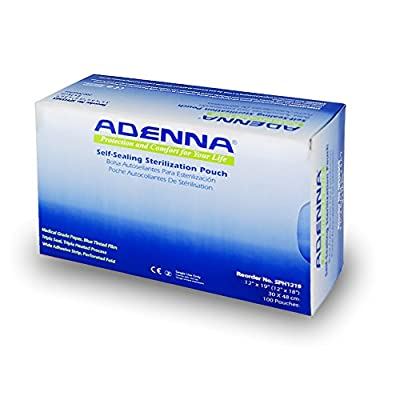 "Adenna White Paper/Blue Tinted Film 12"" X 17-3/4"" Sterilization Pouch (Box of 100)"