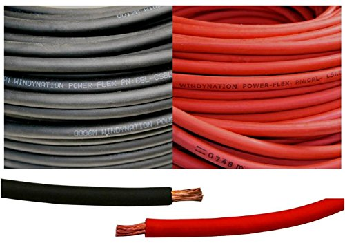 (2 Gauge 2 AWG 5 Feet Black + 5 Feet Red ( 10 Feet Total ) Welding Battery Pure Copper Flexible Cable Wire -- Car, Inverter, RV, Solar by WindyNation)