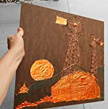 Vintage Copper & Wire String Art, '' This Ol'' Farm''. Copper Carved Log Cabin Thach Roof w/ Stone Shed, Rising Sun, Wire Art Windmill and Alternator