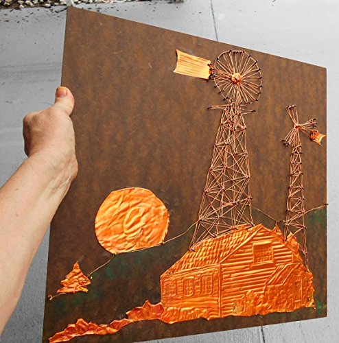 Vintage Copper & Wire String Art, '' This Ol'' Farm''. Copper Carved Log Cabin Thach Roof w/ Stone Shed, Rising Sun, Wire Art Windmill and Alternator by EMENOW