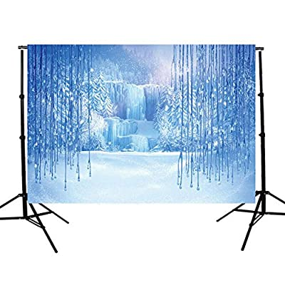 7x5ft Vinyl Romantic Winter Ice Snow Tree World Freezing Waterfall Thin Customized Digital Printed Romantic Photography Backdrop Background Studio Props