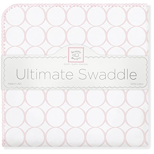 Circles Pink Mod (SwaddleDesigns Ultimate Swaddle Blanket, Made in USA, Pastel Pink Mod Circles)