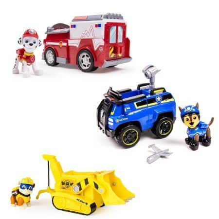 Paws Patrol Chase's Spy Cruiser, Marshall's Ambulance, & Super Pup Rubble's Crane - Vehicle and Figure Combo Set (all three work with Paw Patroller)
