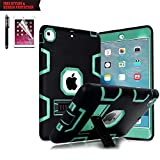 TabPow Hybrid Shockproof Case for iPad Air 2 with Retina Display / iPad 6 Bundle with Screen Protector and Stylus - Turquoise