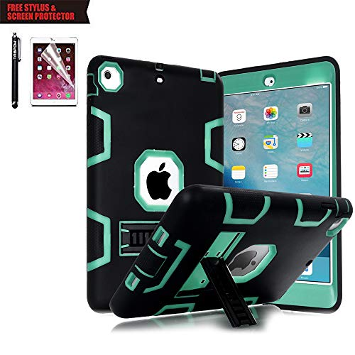 TabPow Hybrid Shockproof Case for iPad Air 2 with Retina Display / iPad 6 Bundle with Screen Protector and Stylus - (Best Shockproof Cases For Ipad Airs)