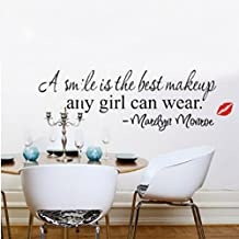 Marilyn Monroe A smile is the best makeup Quote Removable PVC Wall Stickers Art Home Decor