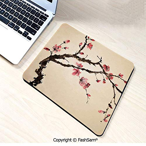 Mouse Pads Traditional Chinese Paint of Figural Tree with Details Brushstroke Effects Print for Home(W7.8xL9.45)