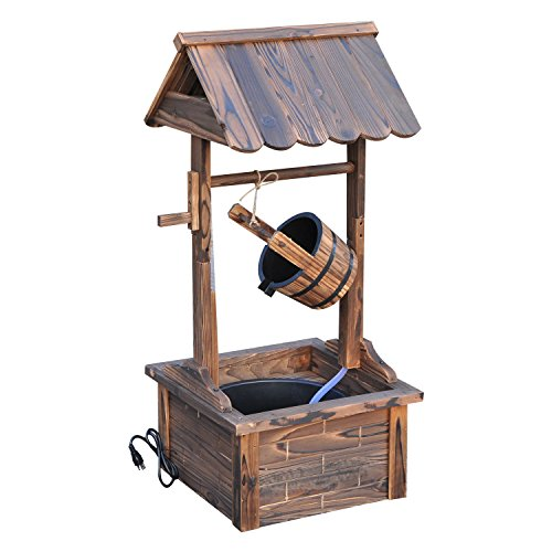 (Outsunny Outdoor Accent Decorative Rustic Wishing Well)