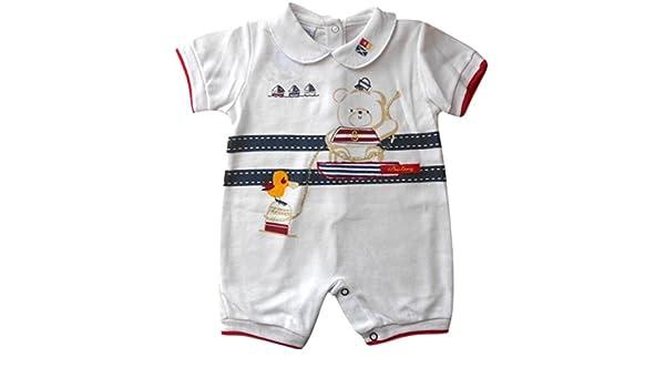 3 - 6 meses - Bebé Pelele de Short-Legged verano color blanco azul y rojo marinero oso para los niños: Amazon.es: Bebé