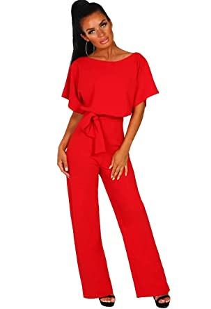 7f99c10e8 Longwu Women's Casual Short Sleeve Jumpsuit Loose Wide Leg Long Pants  Rompers with Waistband Red-