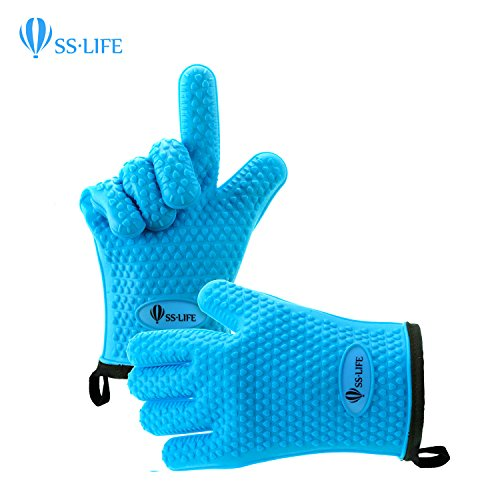 SSLIFE Silicone Cooking Gloves - Silicone and Cotton Double-layer Heat Resistant Oven Mitt - Perfect for Cooking, Grilling, Baking, BBQ, Kitchen - Blue (Oven Mit Small compare prices)
