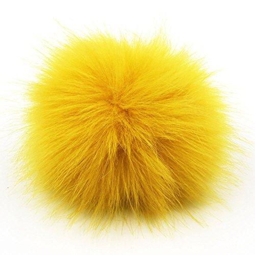 DIY 1pc 4.7inch (12CM) Fluffy Faux Fox Fur Pom Pom Ball (Ginger Yellow) -  Furling