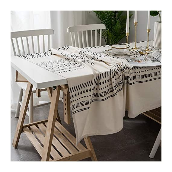 "Lahome Boho Style Geometric Tablecloth - Cotton Linen Table Cover Kitchen Dining Room Restaurant Party Decoration (White, Round - 60"") - DRESS UP YOUR DINNER TABLE - Lahome Bohemian tablecloth measures 60"" (150 cm), is heavy weight, eco-friendly, and long-life used. Fits tables that seat 4 people HEALTHY AND ECO-FRIENDLY - Cotton linen material gives you comfortable feeling and has strong anti-static ability, soft and breathable, good for your health EASY TO CARE FOR - Machine washable in cold water. Tumble dry low heat or air dry; Warm ironing if needed. No bleaching - tablecloths, kitchen-dining-room-table-linens, kitchen-dining-room - 51aRyQ9HHGL. SS570  -"