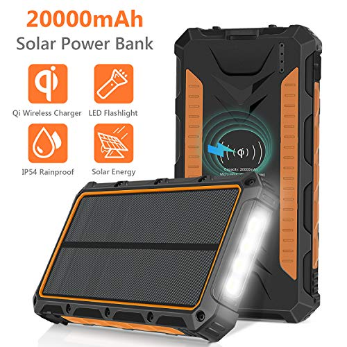 - Solar Charger 20000mAh, Qi Wireless Portable Solar Power Bank External Backup Battery, 3 Output Ports, 4 LED Flashlight, Carabiner, IP54 Rainproof for Camping, Outdoor Activities