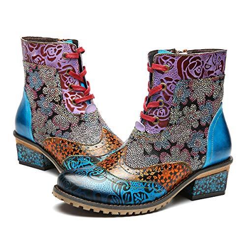 Leather Boots Handmade (gracosy Leather Ankle Bootie, Women's Block Heel Boots Handmade Splicing Pattern Anti-Slip Side Zipper Blue 6 M US)