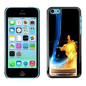 KLONGSHOP // Cubierta de piel con cierre a presión Shell trasero duro de goma Protección Caso - Fuego y Agua Cóctel - iPhone 5C //