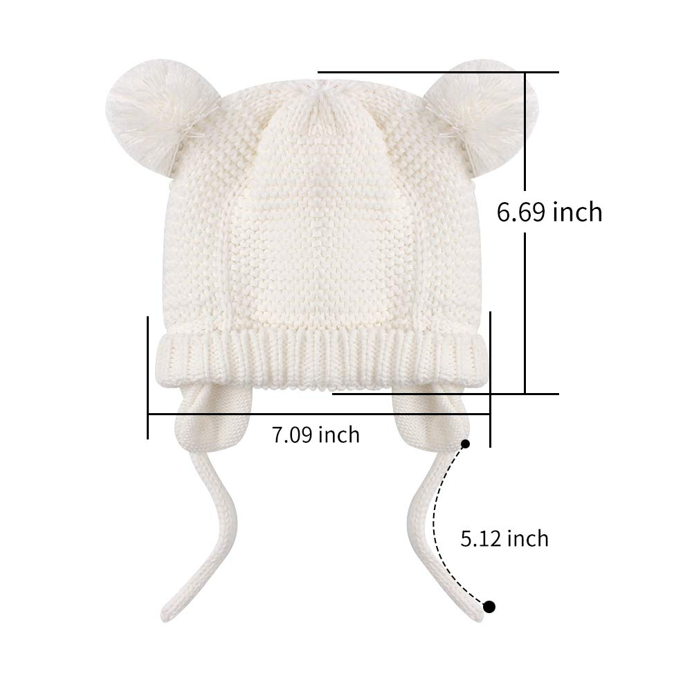 BAVST Baby Beanie Hat for Winter with Earfalp Cute Bear Kids Toddler Girls Boys Warm Knit Cap 0-2Years