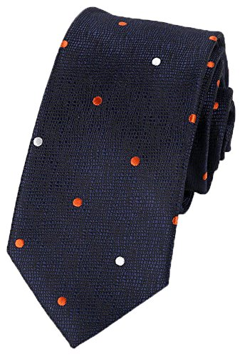 Flairs New York Collection Neck Tie (Midnight Blue/Orange / White [Polka Dots])
