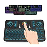 (Updated With Colorful Backlight)WONDAY 2.4GHz Handle Remote Colorful Backlit Mini Wireless Keyboard with Mouse Touchpad Rechargeable Combos for PC, Pad, Google Android TV Box and More