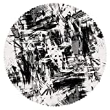 iPrint Round Tablecloth [ Black and White Decorations,Old Grunge Style Abstract Art Brushstrokes Chaos Image,Black White Grey ] Decorative Ideas