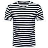 Mijaution Men's Striped T-Shirt Loose Summer Short Sleeve Casual Top Round Neck Pullover Everyday Fresh (Black,XXL)