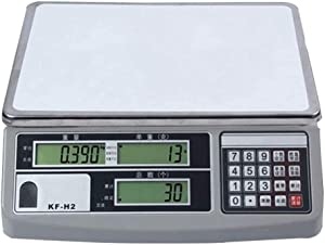 Stainless Steel Heavy Duty Postal Scale to The Nearest 0.1g LCD Digital Digital Commercial Food Meat Weight Scale 30kg Capacity 95 (Color : White, Size : 15kg/0.5g)