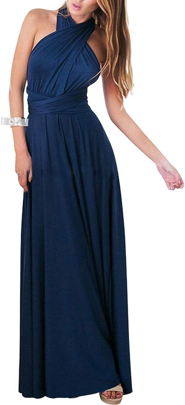 TALLA L(ES 44-46). FeelinGirl Mujer Vestido Maxi Convertible Espalda Decubierta Cóctel Multiposicion Tirantes Multi-Manera Largo Falda para Fiesta Ceremonia Sexy y Elegante Turquí L(ES 44-46)