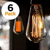 6-Pack Vintage Edison Filament Light Bulb - ST64 - Dimmable - by Newhouse Lighting, Medium (E26) Standard Base E27 - Squirrel Cage